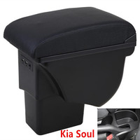 For Kia Soul Armrest Box Leather Car Interior Parts Center Console Armrest Box Auto Armrests Storage with USB