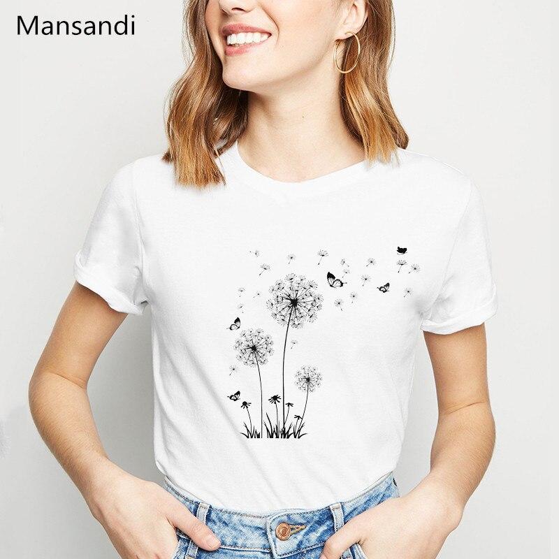 Pretty Dandelion Art Print Tshirt Women Taraxacum Vogue T Shirt Femme Korean Style Clothes Oversized Female T-shirt Streetwear
