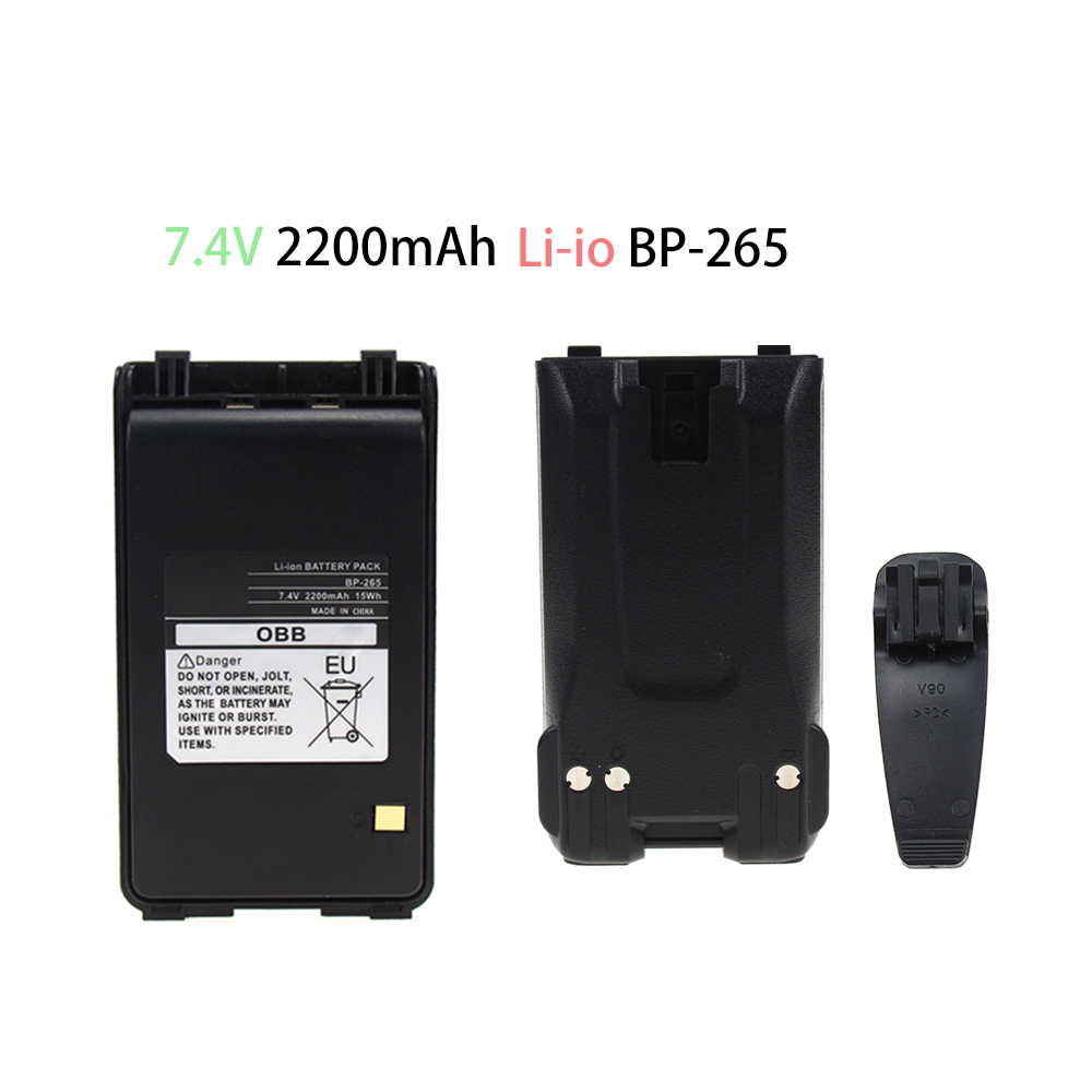2200mAh BP-265 Battery Replacement 7.4V Li-ion Battery Extended For ICOM IC-T70A / IC-T70E FM Transceiver Walkie Talkie