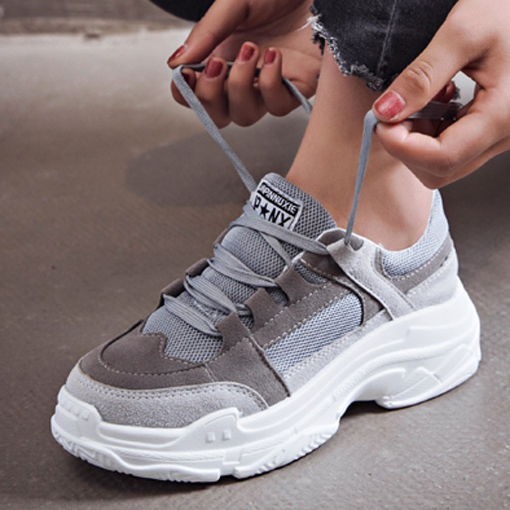 Fashion Women Shoes Mesh Breathable Platform Sneaker Ladies Footwear Women Chunky Sneakers Outdoor Sport Walking Shoes #808