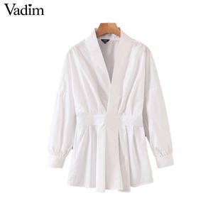 Image 1 - Vadim women chic oversized white blouse V neck back elastic long sleeve shirt female stylish office wear tops blusas LB786