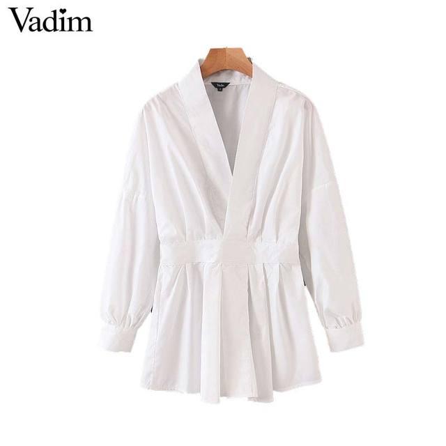 Vadim women chic oversized white blouse V neck back elastic long sleeve shirt female stylish office wear tops blusas LB786