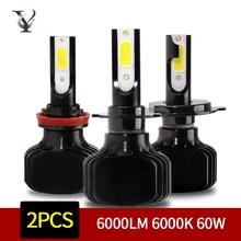 цена на H7 H4 Led Car Headlight Bulbs H1 H11 H3 880 9005 9006 H16 5202 D2S 9012 H15 9004 9007 H13 Auto Lamp 6000LM 6000K 60W COB Chips