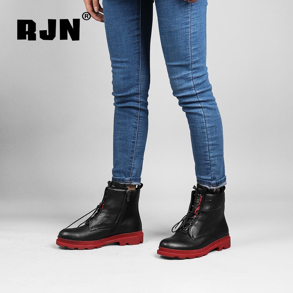Promo RJN Fashion Ankle Boots Design Heel Comfortable Round Toe Zipper Cow Leather Shoes Women Winter Fashion Color Button Boots R22