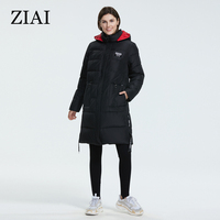 ZIAI 2020 Winter women down jacket Long Plus Size Coats Black and Loose Warmest female parke fashion top quality zipper AR 7038