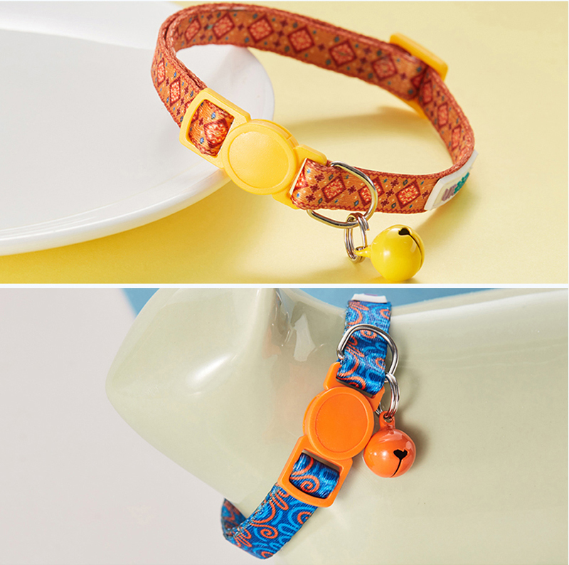 Pack of 2 Cat Collars Personalized Breakaway With Bell
