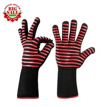 1 Pair Heat Resistant Thick Silicone Cooking Baking Barbecue Oven Gloves BBQ Grill Mittens Dish Washing Gloves Kitchen Supplies