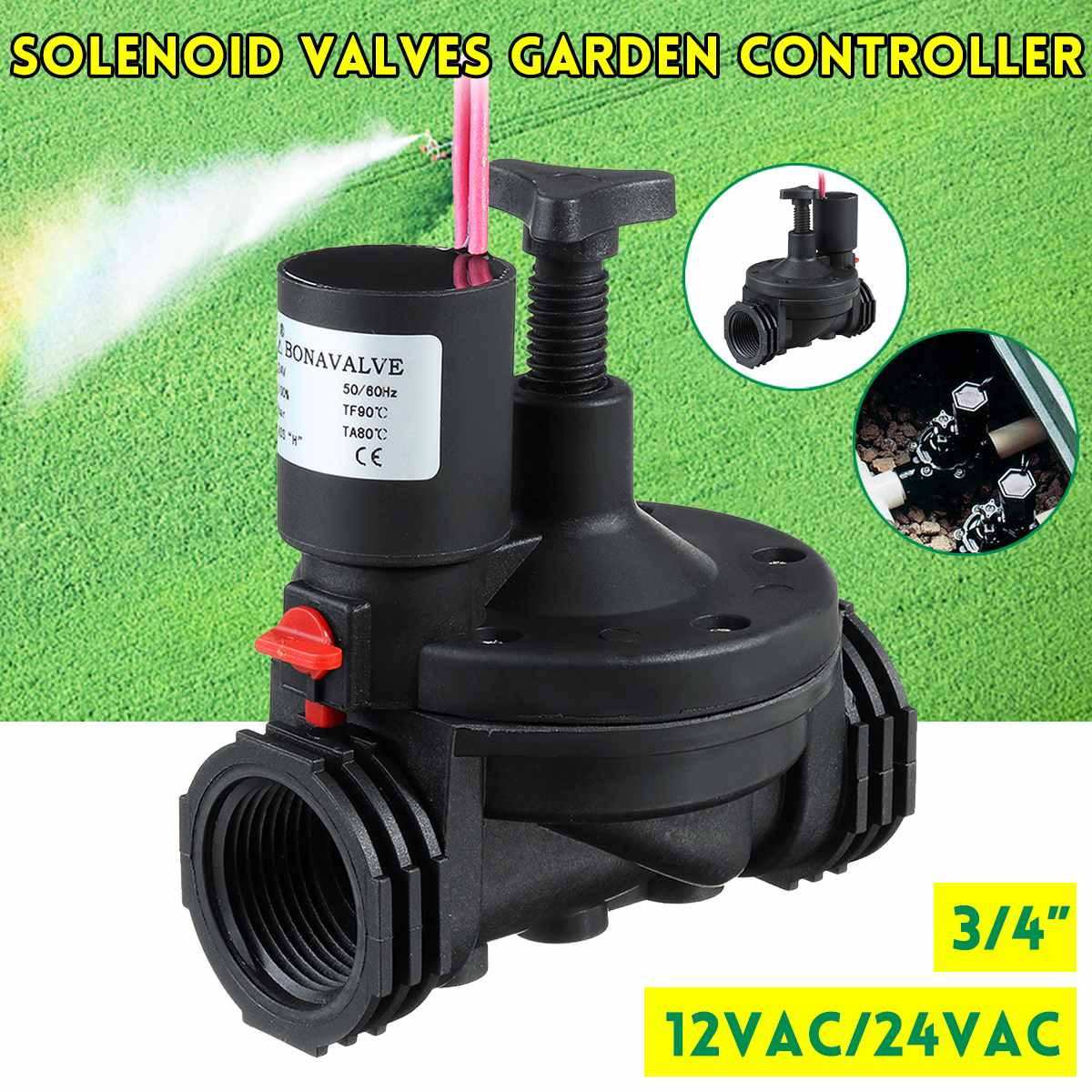 Industrial Irrigation-Valve Solenoid Water-Timers Garden-Controller Valves for Yard AC title=