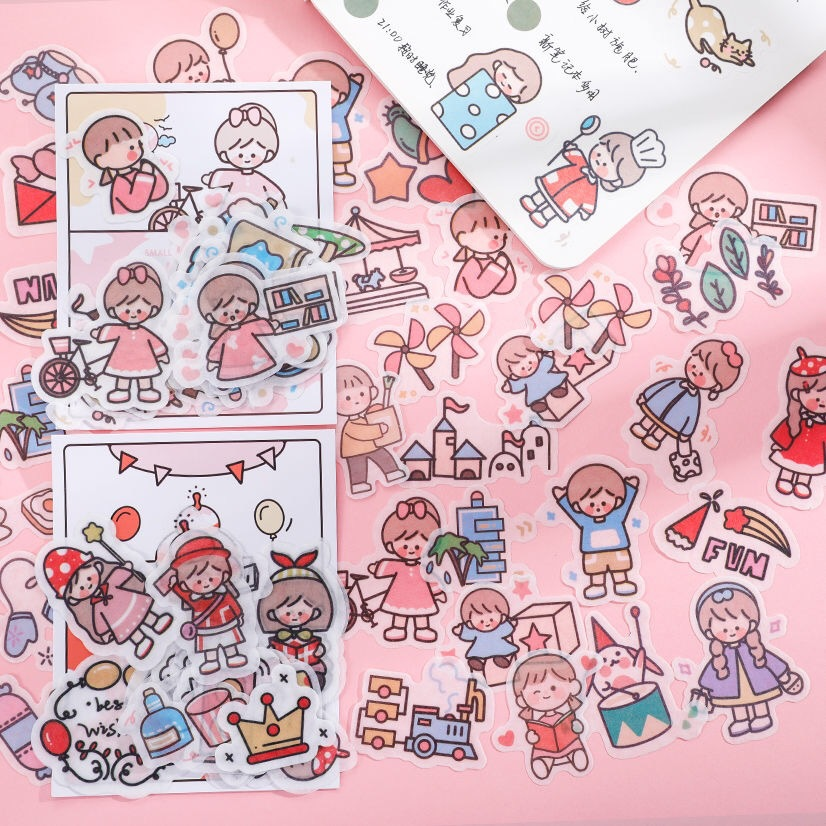Cute Washi Sticker Pack Small Fresh Cartoon Girl Hand Account Diary Decoration Material Scrapbooking Stick Label Stationery