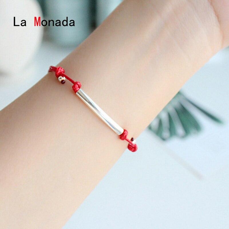 La Monada 925 Sterling Silver Smile Lotus Bell Fashion Couple Bracelets Red Line Thread String Rope Jewelry Bracelets For Women