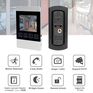 "Image 2 - HomeFong 4 ""جهاز اتصال داخلي مزود بفيديو للأبواب نظام فيديو باب الجرس HD الأشعة تحت الحمراء للرؤية الليلية Deurbel مع بطاقة 32G لأمن الوطن عدة"