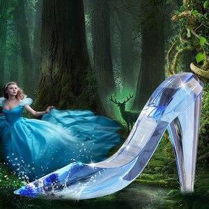 Обувь Золушки с кристаллами; Креативный подарок на день рождения и свадьбу; Украшение для дома; Аксессуары; Стеклянные украшения на высоком ...