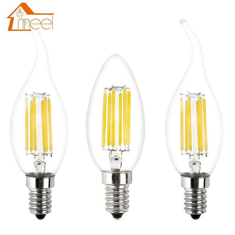 Диммируемая Светодиодная лампа накаливания E14 220 в 240 в 2 Вт 4 Вт 6 Вт C35/C35L винтажная лампа Эдисона для люстры Холодный/теплый белый