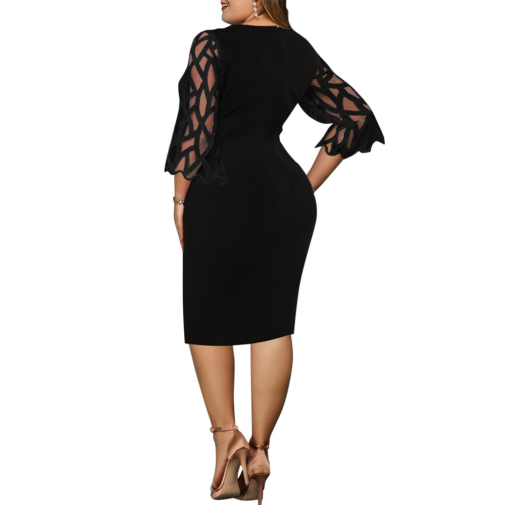 Women's Dress 4xl 5xl 6xl Plus Size Dress for Ladies Birthday Mesh Printed Black Party Dress Sexy Clubwear Summer Clothing 2021