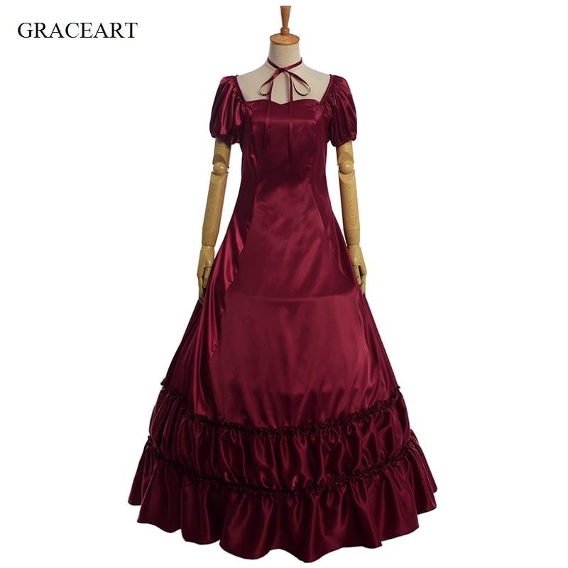 Retro Civil War Gothic Lolita Satin Ball Gown Black Red Sleeveless Prom Dress