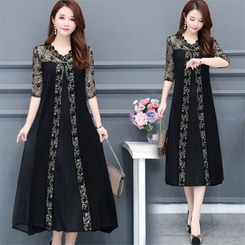 Plus Size Woman Dress 2020 Summer Dress Vintage Lace Mash Long Party Midi Dress Elegant Casual Maxi Loose 4XL Female Vestidos