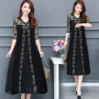 Plus size Woman Dress 2020 Summer Dress vintage Lace Mash Long Party Midi Dress Elegant Casual Maxi Loose 4XL Female Vestidos