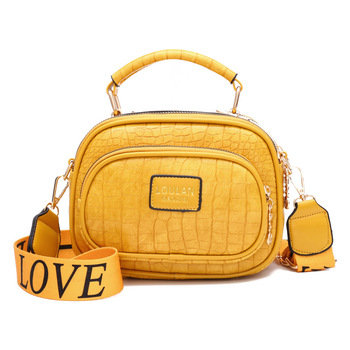 Wide Shoulder Women Bags Simple Soft Leather Crocodile Pattern Small Square Bag PU Solid Handbags