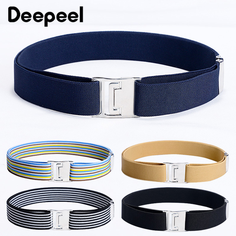 Deepeel 1pc 30-135cm Unisex Elastic Band Cummerbunds Adjustable Elastic Belt Metal Buckle Casual Waistband Wild Sports Accessory