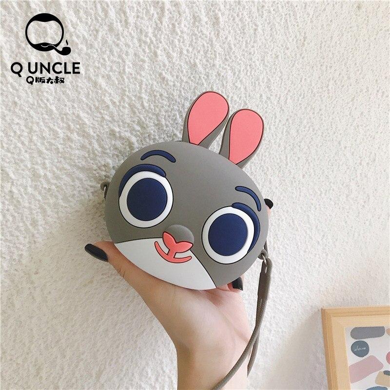Q UNCLE Cartoon Silicone Coin Purse Chain Mini Crossbody Bags Gray Cute Kawaii Wallet Pouch Fashion Headphone Key Storage Pocket