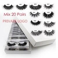 YSDO DIY Logo 3D Mink Lashes Box Packaging 20/30/50/100 Pairs Natural Hair Long Lashes Mix Style False EyeLashes