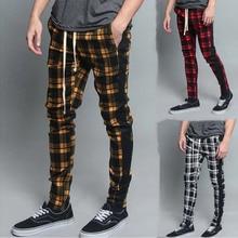 2019 new leisure sports pants men's 3D Plaid trend color matching slim Leggings