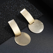 Fashion Vintage Punk Smooth Simple Metal Round Stud Earring Long Irregular Spiral Metal Earrings For Women Simple Ear Jewelry smooth small simple puzzle stud earrings 100% s925 pure silver gold leaves irregular geometry ear fashion jewelry woman gift