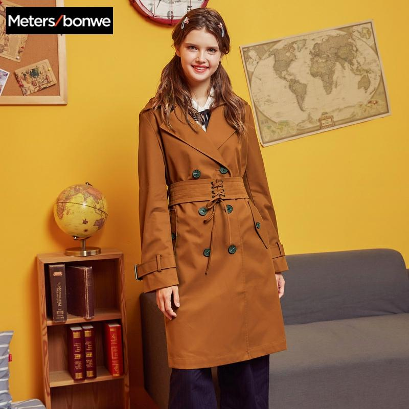 Metersbonwe 2019 Fashion Long   Trench   Female Windbreaker Classic   Trench   Women Autumn Casual   Trench   Office Lady Coat Outwear