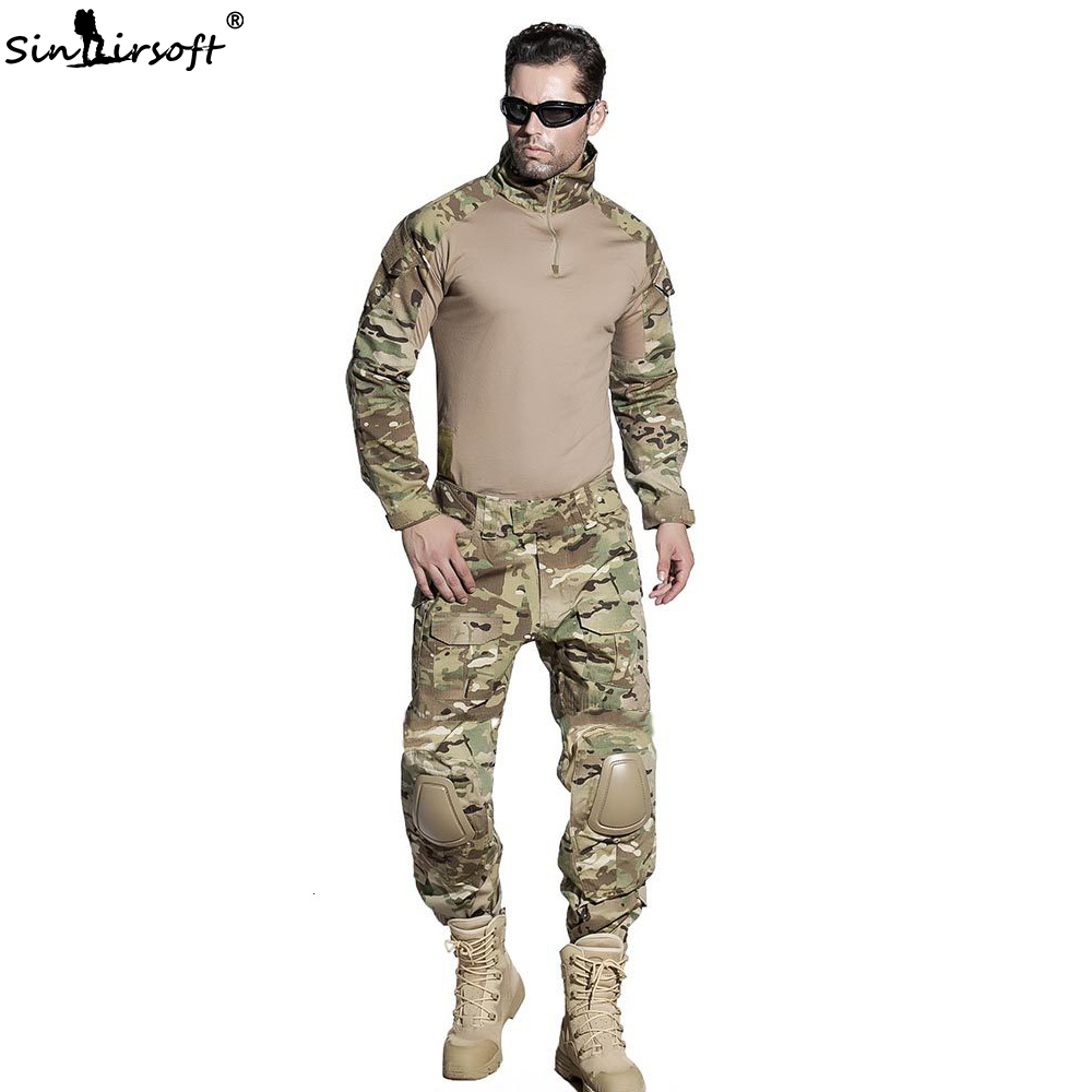 SINAIRSOFT Military Uniform Multicam Army Combat Shirt Uniform Tactical Pants With Knee Pads Camouflage Suit Uniforme Militar