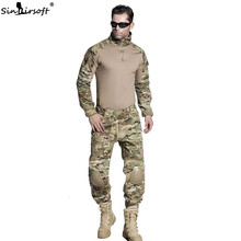 SINAIRSOFT Militaire Uniform Multicam Army Combat Shirt Uniform Tactische Broek Met Kniebeschermers Camouflage Pak Uniforme Militar(China)