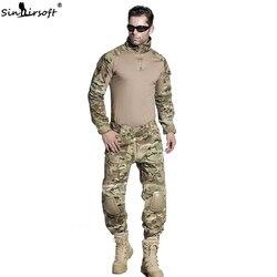 SINAIRSOFT Military Uniform Multicam Army Combat Shirt Uniform Tactical Pants With Knee Pads Camouflage Suit Uniforme Militar