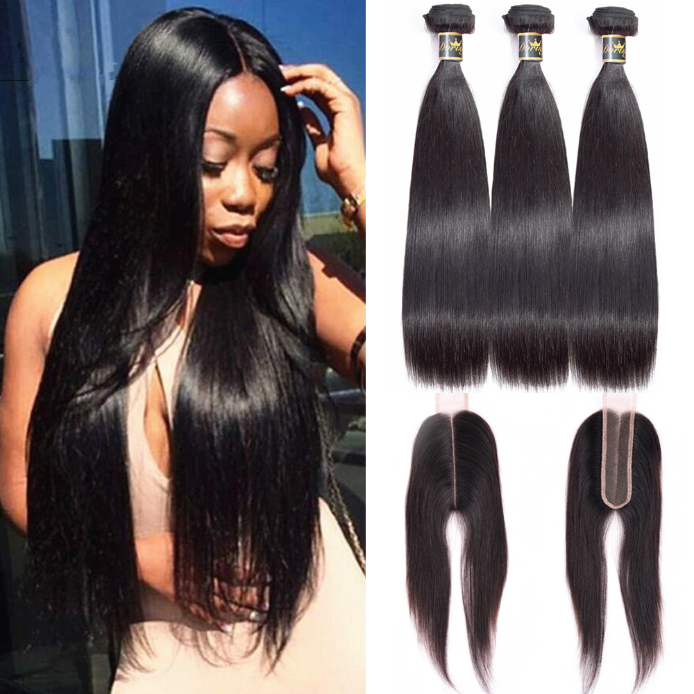 Straight Hair Bundles With Closure 2*6 Lace Brazilian Hair Weave Bundles With Closure Human Hair Middle Part Natural Color