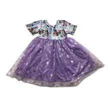 Gorąca sprzedaż dziewczyny kreskówka sukienka fioletowy tiul sukienka z krótkim rękawem butikowa odzież dla dzieci