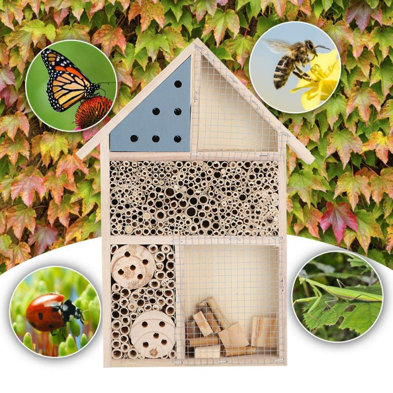 Beekeeping Insect Bee House Wood Bug Room Hotel Shelter Garden Decoration Nests Box Bee House Beekeeper Feeding House BeeBox