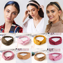 38 couleurs croix haut noeud bandeau pour femmes fille bandes de cheveux solide élastique torsion bandeaux mode croix cheveux accessoires Turban