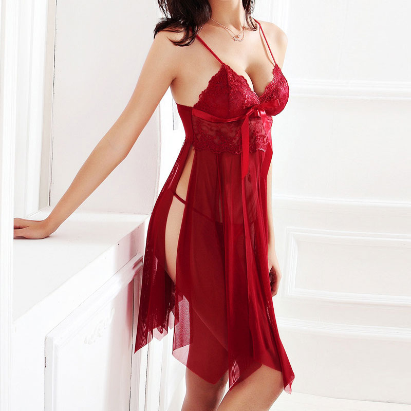 Women Nightgown Hot Nightwear Sexy Lingerie Lace Slits Nightdress V-neck Nightie Vintage Sleepwear Female Pijama embroidery 2020 3