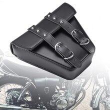 Universal Motorcycle Saddlebag Leather Bag Storage Tool Pouch Left Side Saddle Bag For Harley Kawasaki Honda Suzuki Cafe Racer цена 2017