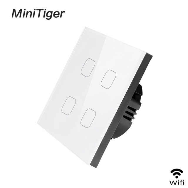 Minitiger Smart Home 4 Gang 1 way Wireless WiFi EU Standard Touch Switch Wall Light Switch,White Luxury Crystal Glass