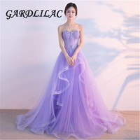 Sweetheart Applique Quinceanera Dresses Aline Lilac Symmetrical Long Formal Prom Dresses