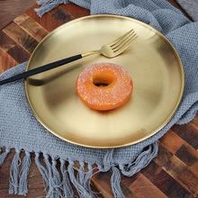 Goud Gouden Zilveren Koreaanse 304 Rvs Ronde Steak Sushi Bruiloft Dessert Plaat Lade Afwerking Spiegel Lade Bbq Servies Schotel