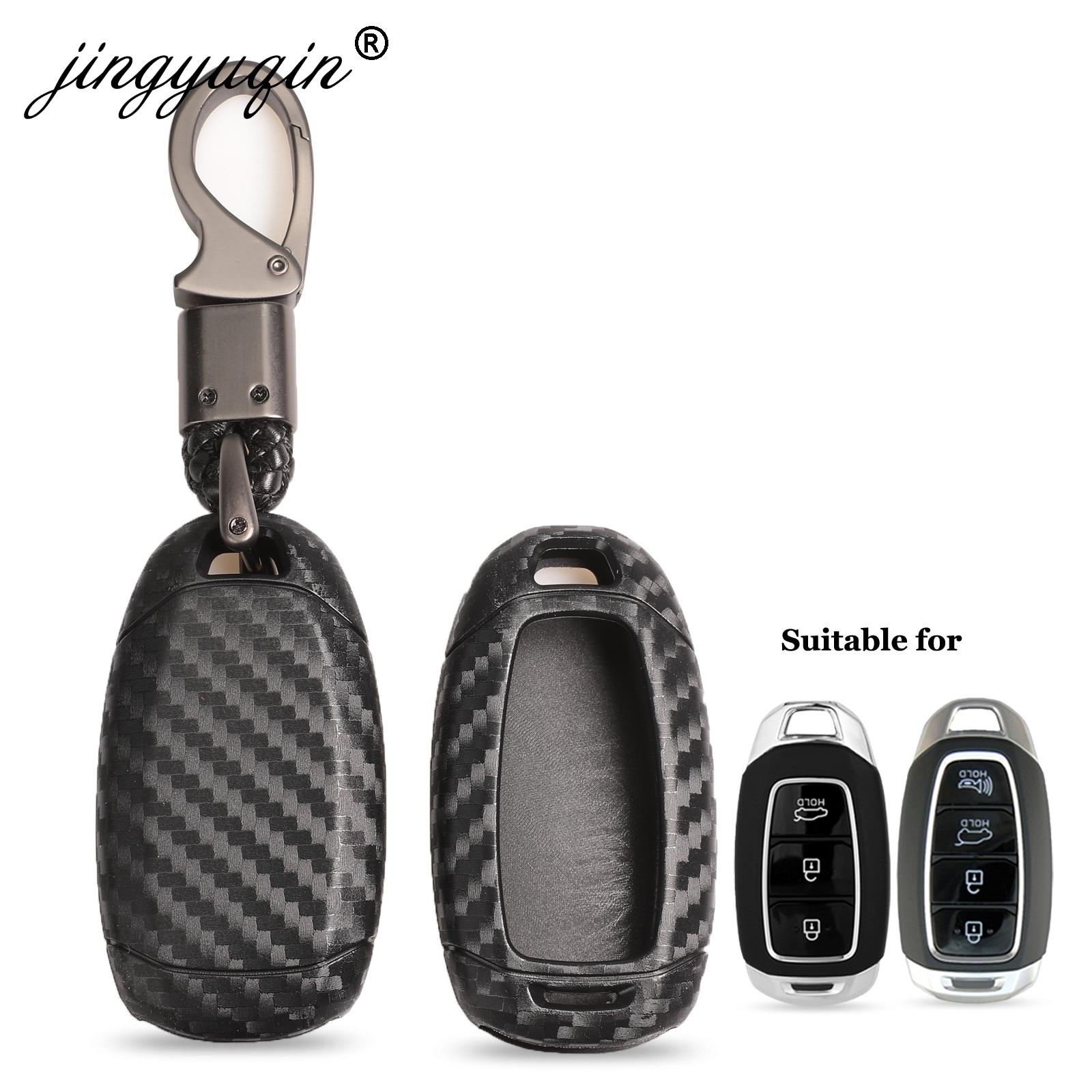 Jingyuqin Carbon Fiber Car Key Case For Hyundai I30 Ix35 KONA Encino Solaris Azera Grandeur Ig Accent Santa Fe Palisade 3/4/5BTN