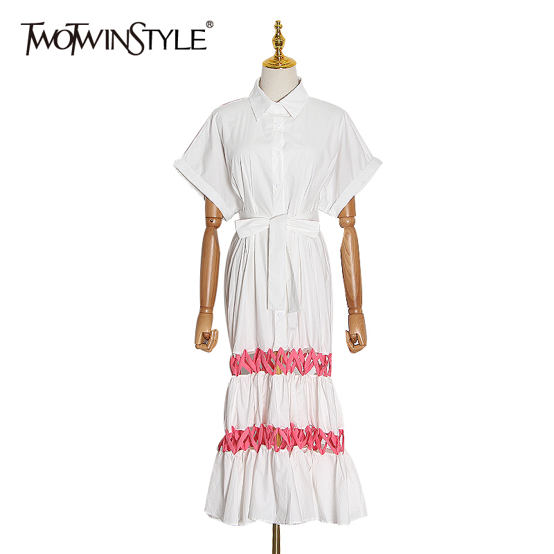 TWOTWINSTYLE Hollow Out Dress For Women Lapel Collar Short Sleeve High Waist Lace Up Bowknot Dresses Female 2020 Spring New