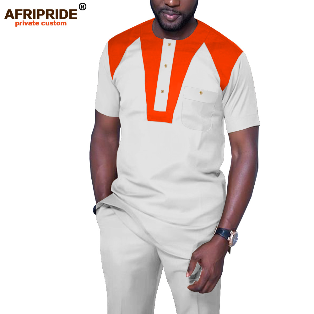 Mens 2 Pieces African Dashiki Dashiki Shirts With Ankara Pants Casual Tracksuit Set Blouse Pockets AFRIPRIDE A1916066