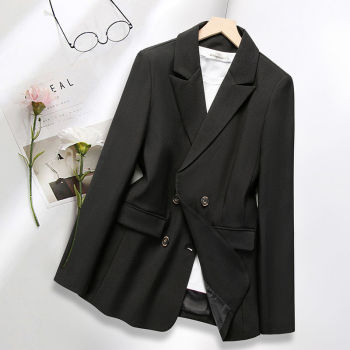 PEONFLY Casual Double Breasted Blazer Women Office Ladies Blazer Solid Casual Coat Jacket Long Sleeve Notched Outwear Coat 1