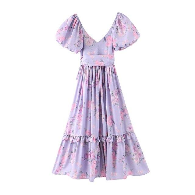 soft and ruffled puff sleeve dress 2