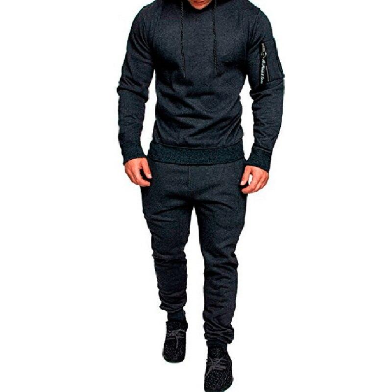 MJARTORIA  2019 New Men Fashion Long Sleeve Hoodies+Pants Set Male Tracksuit Sport Suit Men's Gyms Set Casual Sportswear Suit