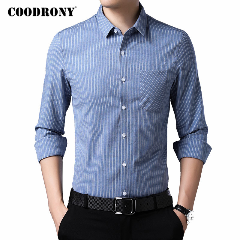 COODRONY Brand Classic Striped Long Sleeve Shirt Men Spring Autumn Mens Business Casual Shirts Real Pocket Chemise Homme C6038