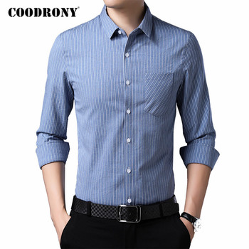 COODRONY Brand Classic Striped Long Sleeve Shirt Men Spring Autumn Mens Business Casual Shirts Real Pocket Chemise Homme C6038 striped long shirt with chest pocket
