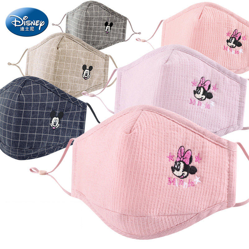 Disney 3pcs Mickey Minnie Mouse Cartoon Children's Protective Mouth Face Masks Boys Girls Reusable Dust-proof Washable Mask