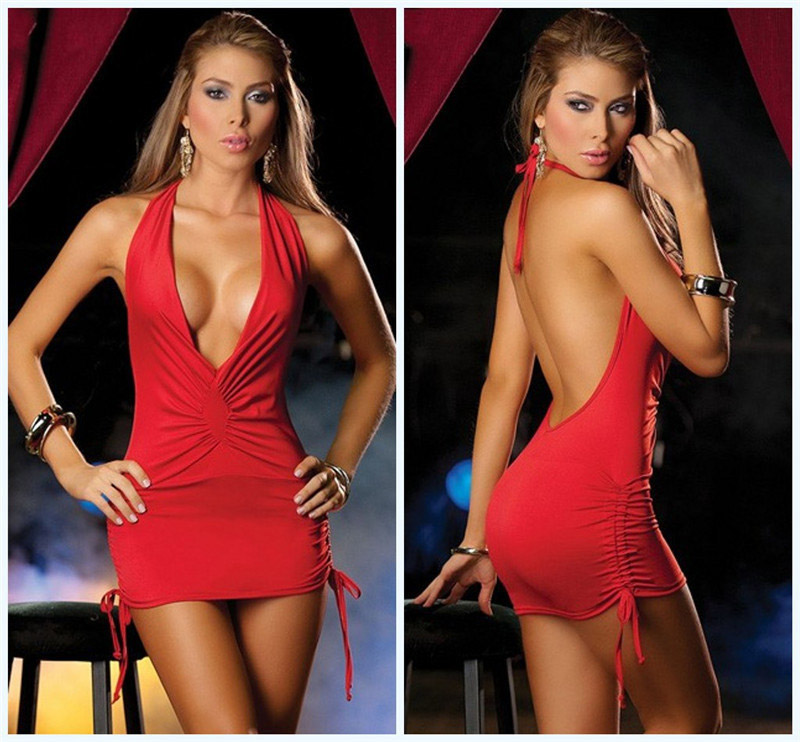 Women Sexy Lingerie Deep V Low Breasts Tight Back Pack Hip Sexy Nightclub Loaded Steel Dance Clothes